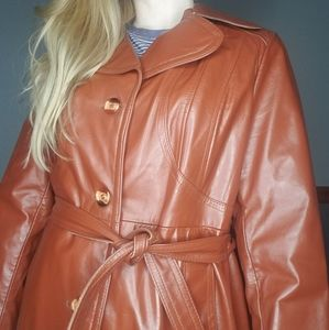 Vintage 1970's Leather Faux Fur Trench Coat Large